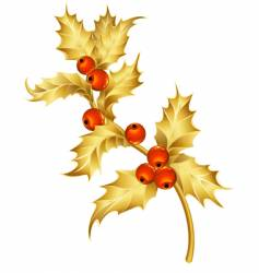 gold holly vector image vector image