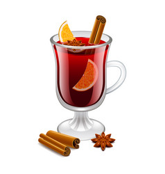 mulled wine glass isolated on white vector image vector image