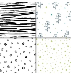 Set of seamless floral pattern isolated on vector image
