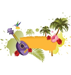 Tropical Banner With Palm Trees Ukulele and Flower vector image vector image