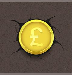 golden pound on cracked background vector image