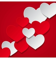 hearts red background vector image vector image