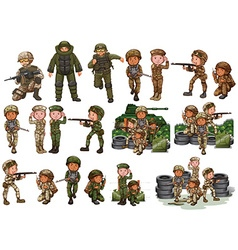 Soldiers in different actions vector image
