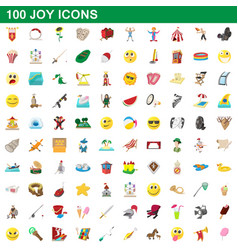 100 joy icons set cartoon style vector image vector image