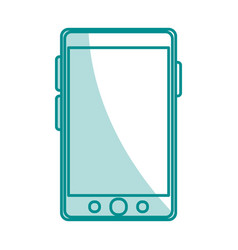 blue silhouette shading of smartphone device icon vector image