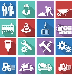 flat construction icon set on colorful background vector image vector image