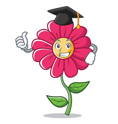 graduation pink flower character cartoon vector image vector image
