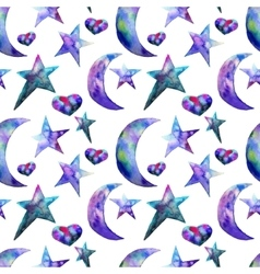 Seamless pattern of colorful watercolor star and vector