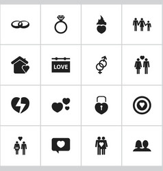 Set of 16 editable love icons includes symbols vector