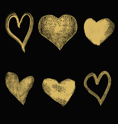 set of hand drawn hearts in golden style isolated vector image vector image