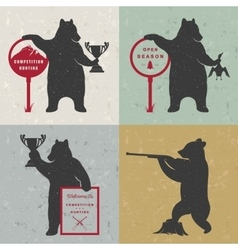 Set Sign Fun Bears vector image