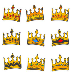 Style crown elegant doodle collection vector