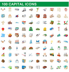 100 capital icons set cartoon style vector image