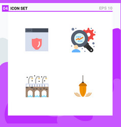4 universal flat icon signs symbols web server vector
