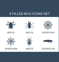 6 bug icons vector image