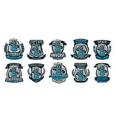 a set of emblems logos an astronaut salutes and vector image