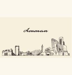 amman skyline jordan hand drawn sketch vector image