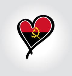 Angolan flag heart-shaped hand drawn logo vector