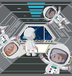 Astronaut in the spaceship vector