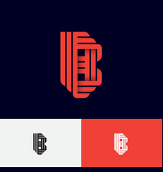 b letter origami logo gradient monogram ribbon vector image