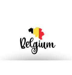 Belgium country big text with flag inside map vector