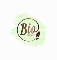 bio product watercolor design bio logo with leaf vector image