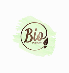bio product watercolor design logo with leaf vector image