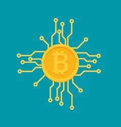 bitcoin mining concept coin flat vector image