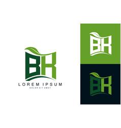 Bk monogram leaf logo natural organic premium vector