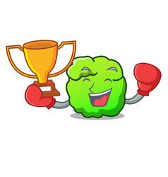 Boxing winner shrub mascot cartoon style vector