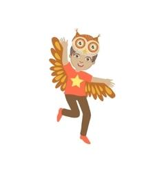 Boy Wearing Owl Animal Costume vector