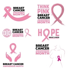 breast cancer awareness month emblems badges vector image