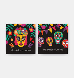 bundle of square cards with dia de los muertos vector image