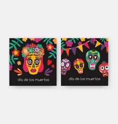 bundle square cards with dia de los muertos vector image