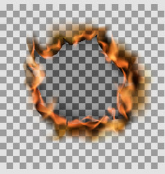 burning torn hole in paper sheet on transparent vector image