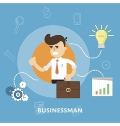 Businessman with business ideas design concept vector