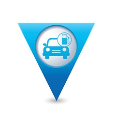 Car with gas station iconmap pointer blue vector