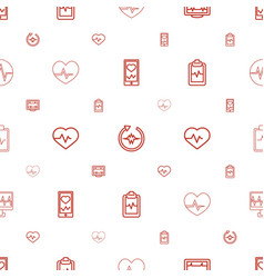Cardiogram icons pattern seamless white background vector