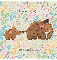 Cartoon floral card with mammoth vector