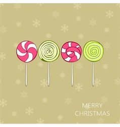 Christmas vintage card with lollipops vector image