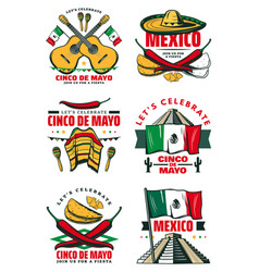 Cinco de mayo retro sketch mexican icons vector