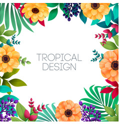 colorful summer tropical background with exotic vector image