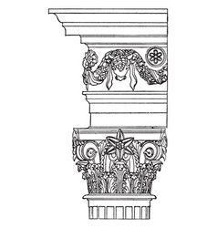 Corinthian order the temple of vesta vintage vector