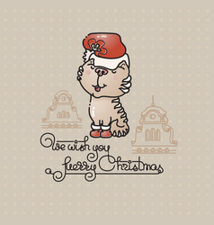 cute cat with santa hat and handwritten text vector image