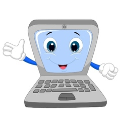Cute laptop cartoon waving hand vector image