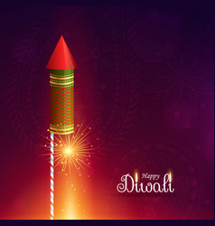 diwali cracket rocket with sparkle vector image