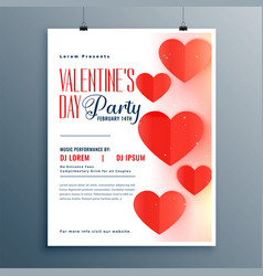 elegant valentines day party flyer template design vector image