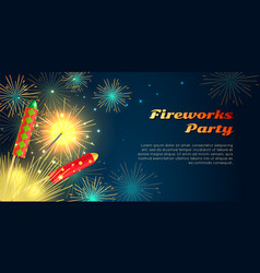 Fireworks party barner collection pyrotechnics vector