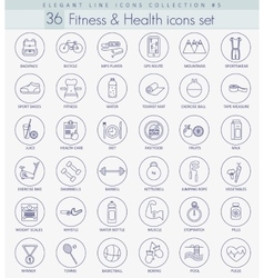 fitness and health outline icon set vector image