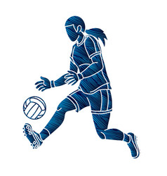 Gaelic football female player action cartoon vector